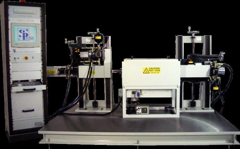 Servo hydraulic rotational endurance fatigue test machine with environmental chamber